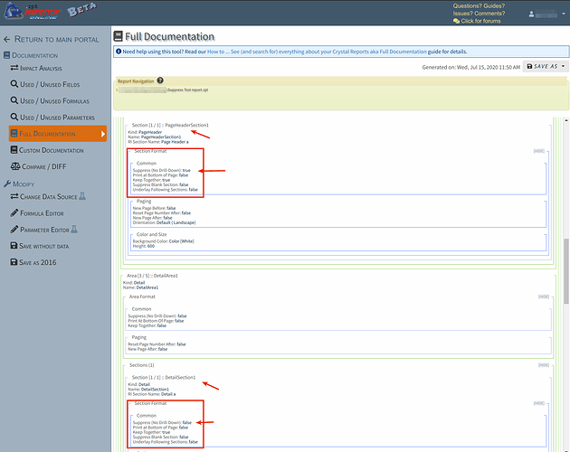 .rpt Inspector Online - Full Documentation - Section Suppress