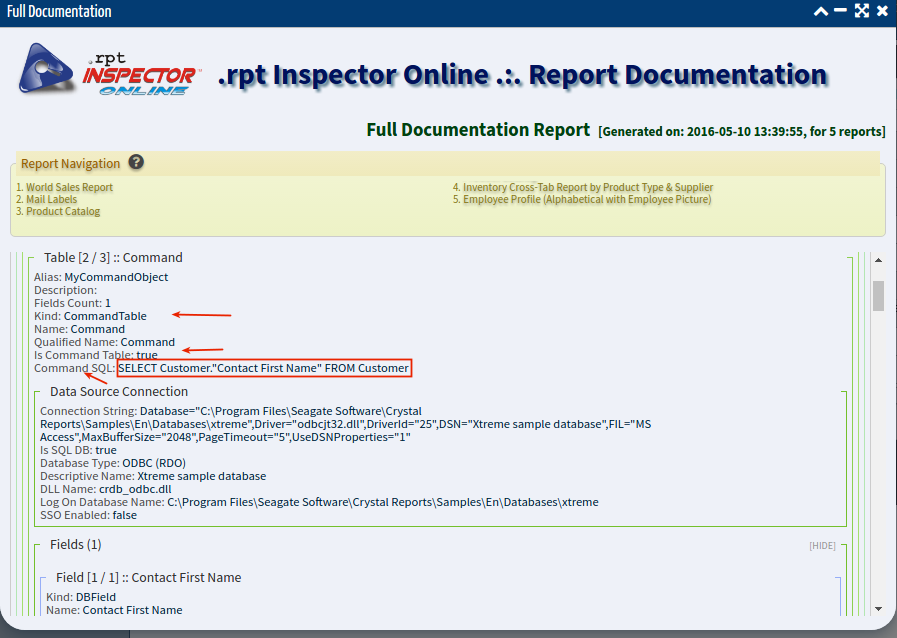 How to     See the SQL inside a Crystal Report Command